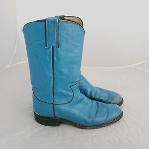 Justin Cowgirl Boots Turquoise Leather USA vintage